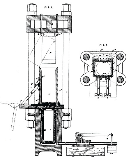 Henderson's patent for a machine to manufacture blocks of ice from thin fragments and sheets by compressing it under an hydraulic ram. Henderson explained that under pressure the the ice would give up some of its latent heat to the liquid present in the cavities between between particles and thus become more dense. On the pressure being removed, some sensible heat would be absorbed and rendered latent, thus making the ice colder