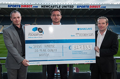 CDL md Darrel Birkett ((left) and colleague Chris Oldroyd (right) with Steve Harper and the cheque which will be distributed to the Newcastle United Foundation, Great North Children's Hospital and the Sir Bobby Robson Foundation and through them the Alan Shearer Foundation, the Toma Fund, and the Clarke Lister Brain Haemorrhage Foundation