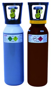 A-Gas (UK) Limited, Oxygen (left) and Acetylene cylinders (right)