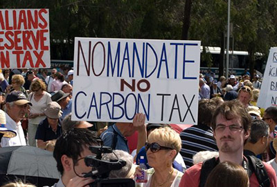 Opponents protest the imposition of Australia's controversial carbon tax