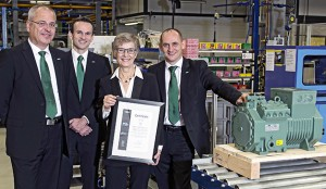The 100,000th new Ecoline reciprocating compressor being presented to Bitzer's Polish distributor Berling SA (l to r): Frank Fuhlbrück (Bitzer Schkeuditz plant manager), Volker Stamer (Bitzer's director of Stationary Products), Hanna Berling (ceo of Berling SA) and Michael Eichberger (managing director Bitzer Austria)