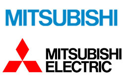 The blue Japanese Mitsubishi logo (top) with our more familiar logo above