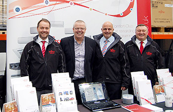 The Fujitsu team at the recent open day (l to r) Nick Wilks, Fujitu distribution regional sales manager, Paul Fisher, FSW sales director, Julian Brunnock, Fujitsu sales and marketing director and Paul Airey, Fujitsu distribution sales manager