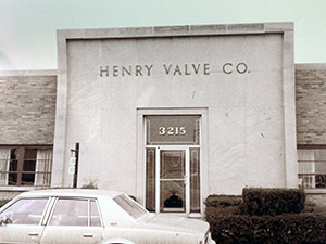 The grand entrance to the Henry Valve building in Melrose Park
