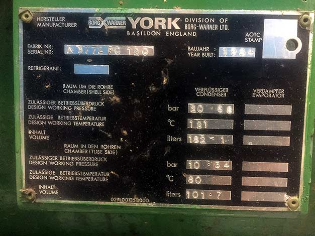 York-chiller-data-plate